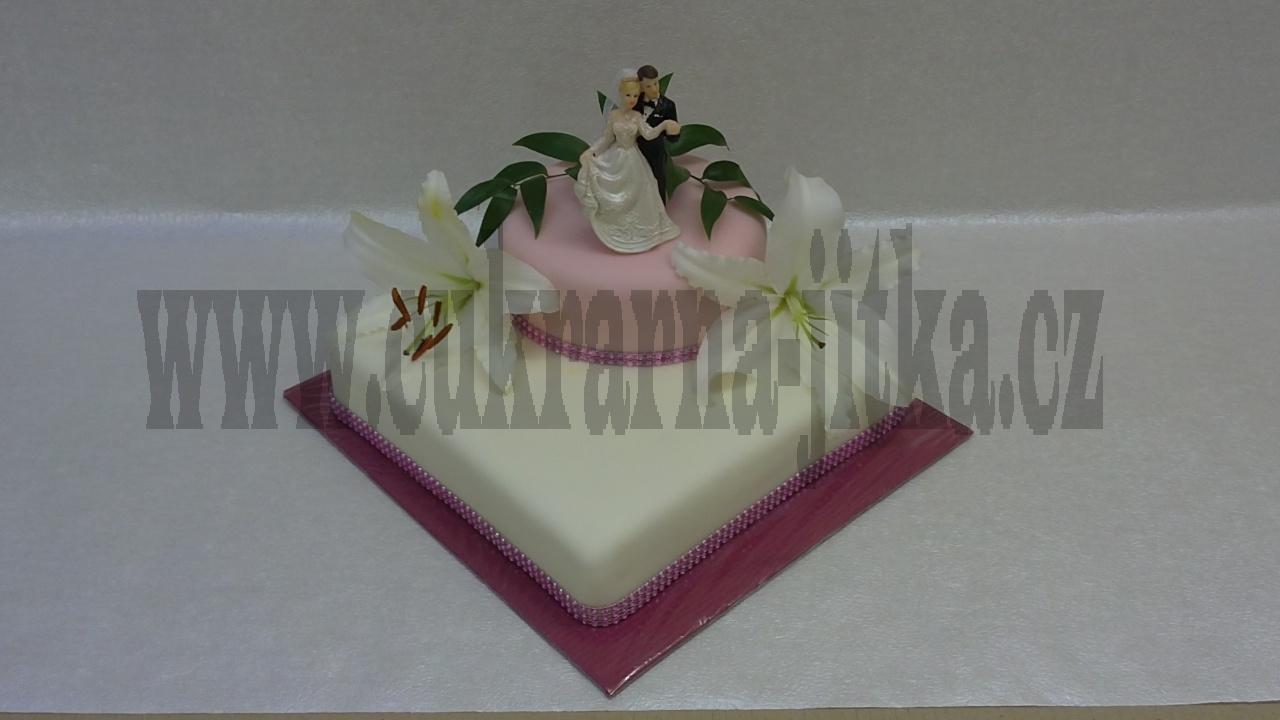 svatební dort s živými květy orchidejí a růžovým štrasem č.752