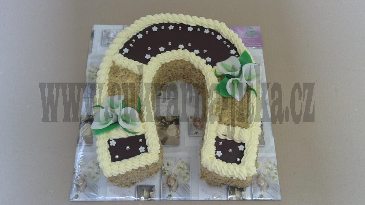 svatební dort podkova ,kaly