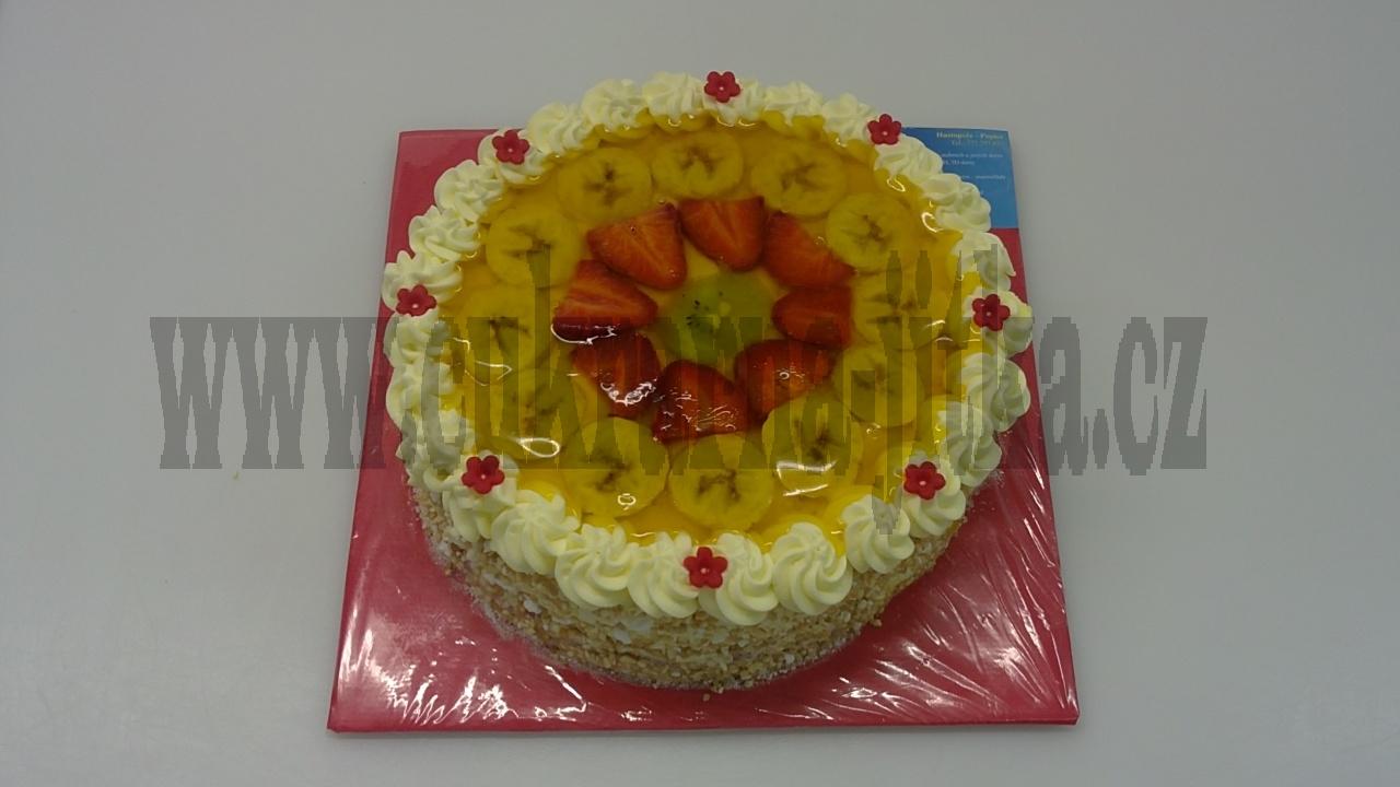 dort ovocný kulatý banán,jahody,kiwi,želatina   č.649