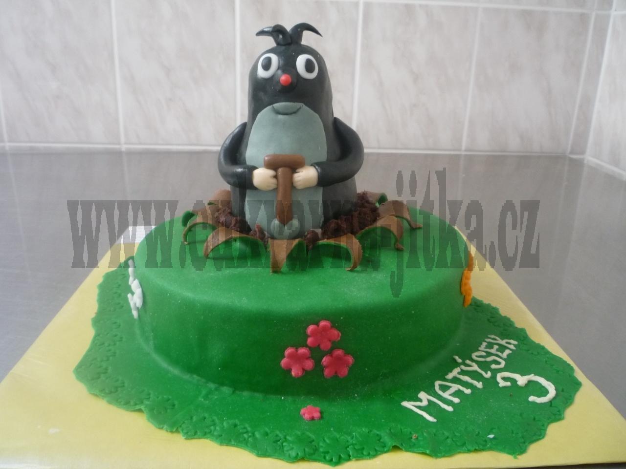 krteček 10-12 Cm vysoký dort  č.340