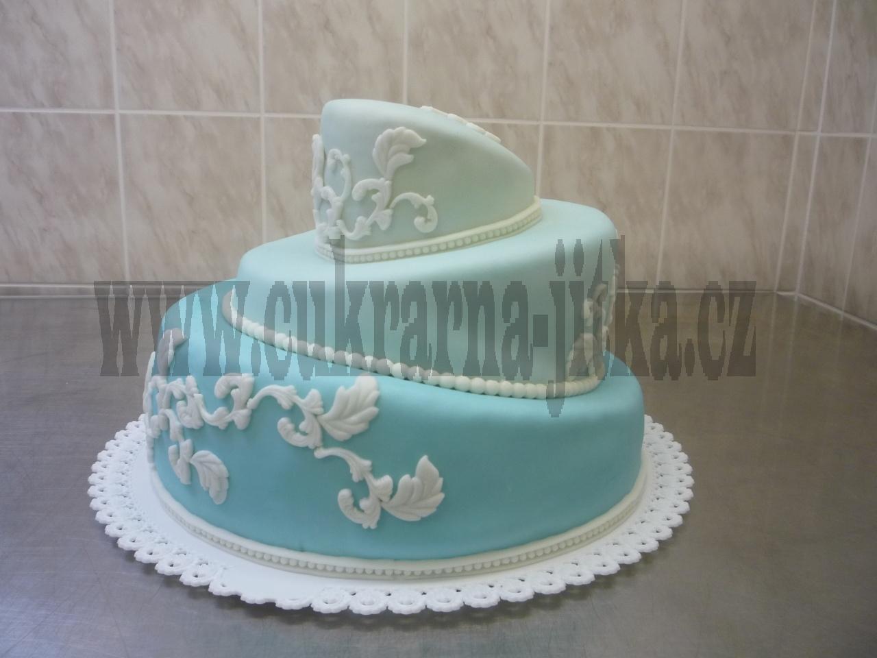 svatební 3 patrový křivý dort    č.403