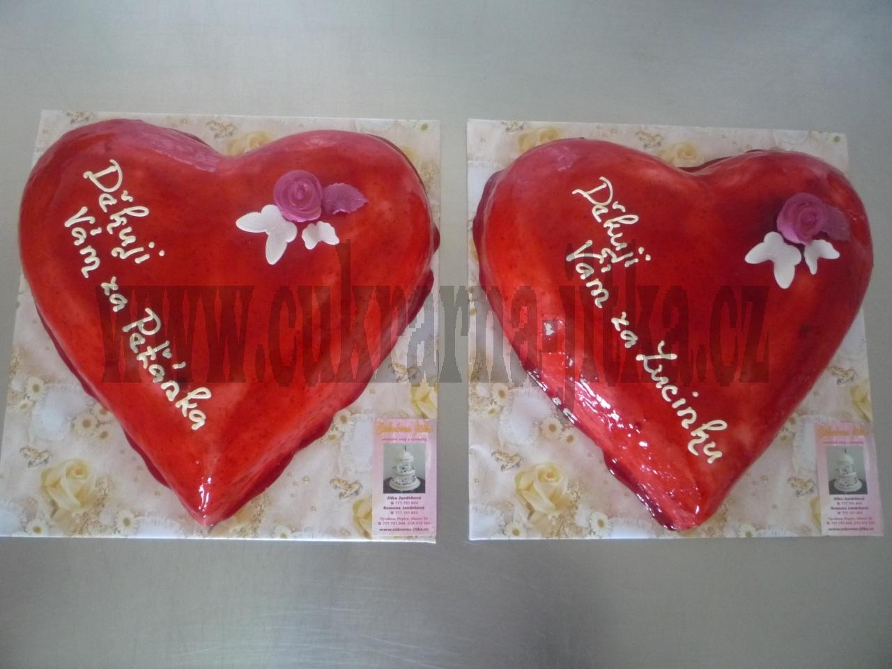 svatební dort děkovná srdce zaoblená     č.354