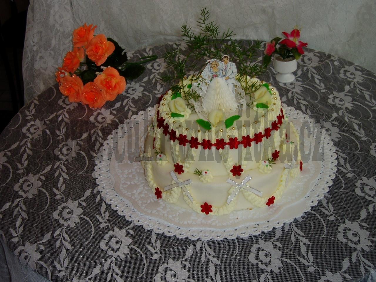 svatební dort kulatý  2 patrový  ll   č.020
