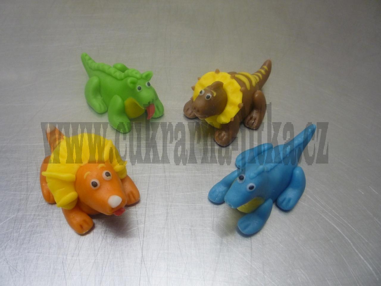 figurky marcipánové dinosauři na dort