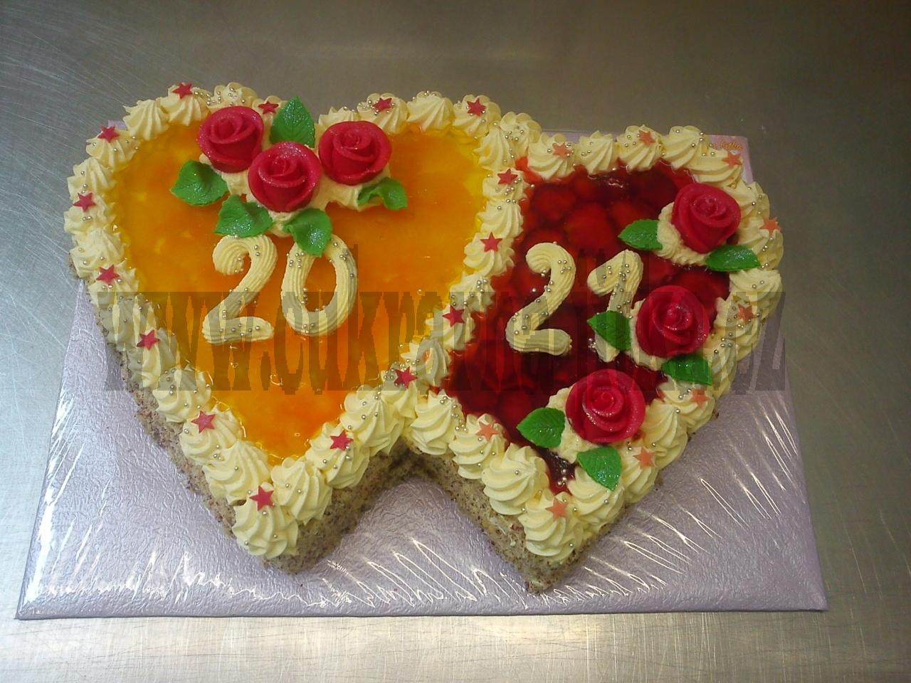 dvojsrdce dort mandarinky,jahody ,želatina   č.488