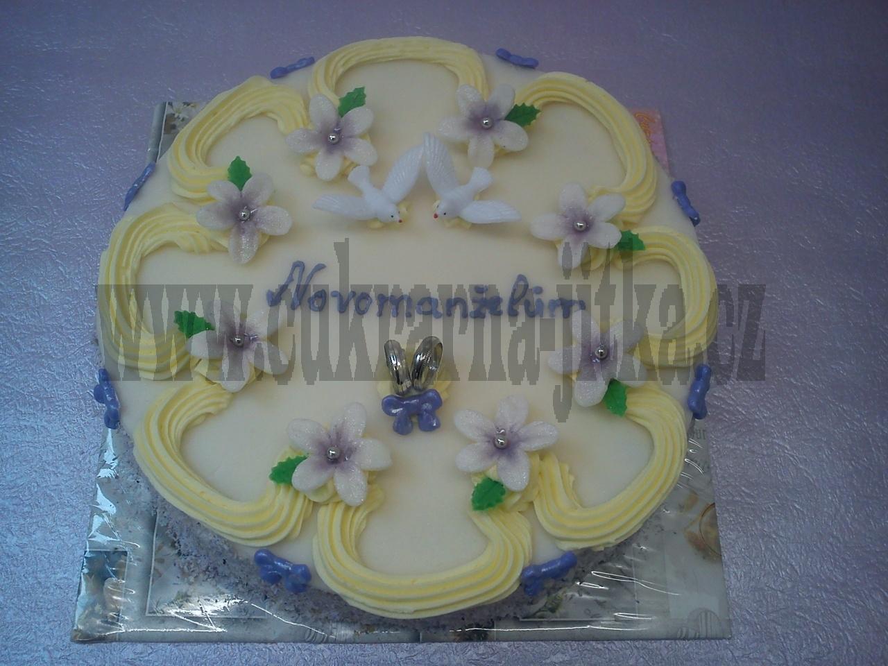 svatební dort kytka prstýnky č.756