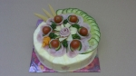 kulatý slaný dort šunková pěna, sýr,šunka,zelenina