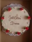 dort kulatý bílý celý v marcipánu+růžičky