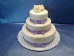 svatební 3 patrový dort fialová mašle