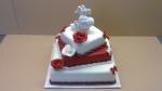 svatební 3 patrový čtverec červeno bílý s holoubky