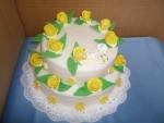 svatební dort kulatý  2 patra žluté růže   č.424