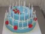 kulatý třípatrový dort+svíčky+růžičky    č.356