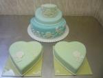 svatební dort křivý  - děkovné srdce, vrch marcipán č.404