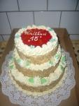 kulatý třípatrový dort vrch želé, ovoce  č.329