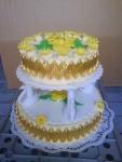 svatební dort kulatý 2 patra na podstavci    č.422