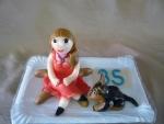 figurka na dort slečna s pejskem