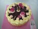 dort kulatý vrch čokoláda 3 fialové růže