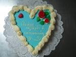 srdce dort - vrch modrý marcipán