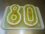číslice dort vrch potěr kiwi,boky marcipán    č.319
