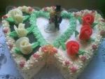 Svatební dort  dvojsrdce vrch hnědá a bílá čokoláda     č.285