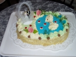 svatební dort ovál s labutěmi      č.061