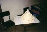 svatební 3 patrový dort potažený marcipánem    č.118
