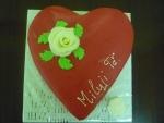 srdce zaoblené dort v maripánu 1 velká růže