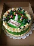 Dětský dort kulatý -  sněhurka-potahlý zeleným marcipánem i boky   č.420
