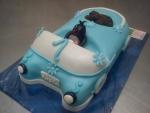 krteček v modrém autě  s pejskem dort č.569