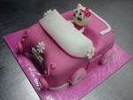hellou kitty  v růžovém  autě dort č.566