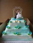 svatební 3 patrový čtverec, ženich s nevěstou na houpačce