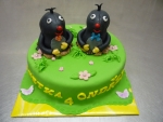 krtečci 2 na paloučku dort pro dvojčata