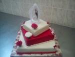svatební dort čtverec 3 patra,velké růže - mašličky č.451