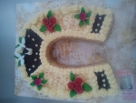 svatební dort podkova, holubičky č.450