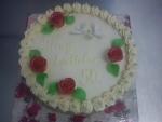 svatební dort kulatý  holoubci+prstýnky  č.502