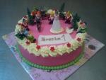 sněhurka a 7 trpaslíků dort potáhlý růžovým marcipánem č.573