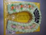 svatební dort  podkova s růžičkama+ holoubci+zlaté penízky  č.447