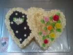 svatební dort dvojsrdce čokoláda a oříšky č.452