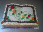 kniha otevřená dort  vrch marcipán s růžičkami č.506