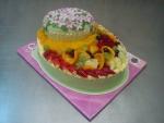 dort ovál velký, patrový, kvítečka ,ovoce čerstvé kompotované,marcipán   č.491