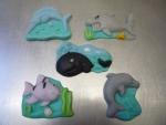 figurka marcipánová zvířátka mořská,  mečoun,žralok,verlyba,rybka,delfín,