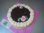 svatební dort ,vrch čokoláda ,holubička prstýnky č.461