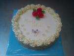 svatební dort kulatý bílý marcipán ,prstýnky,růžičky č.458