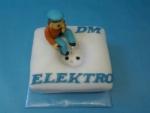 lektrikář na elektrické zásuvce dort