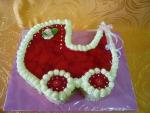 ovocný dort kočárek vrch želé + jahody   č.475