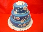svatební 3 patrový  modrý dort  s bilými kvítky č.440