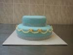 svatební dort modrý s lesklým štrasem č.444