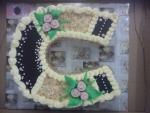 svatební dort podkova velká s perličkama č.462
