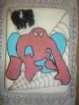 spiderman dort ,obdelník potáhlý bílým marcipánem + pavouk