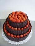 svatební 3 patrový dort belgické tyčinky čerstvé jahody míša krém č.355